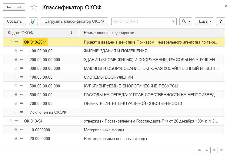 Справочник окоф для 1с 8. 2 spisokfluid.